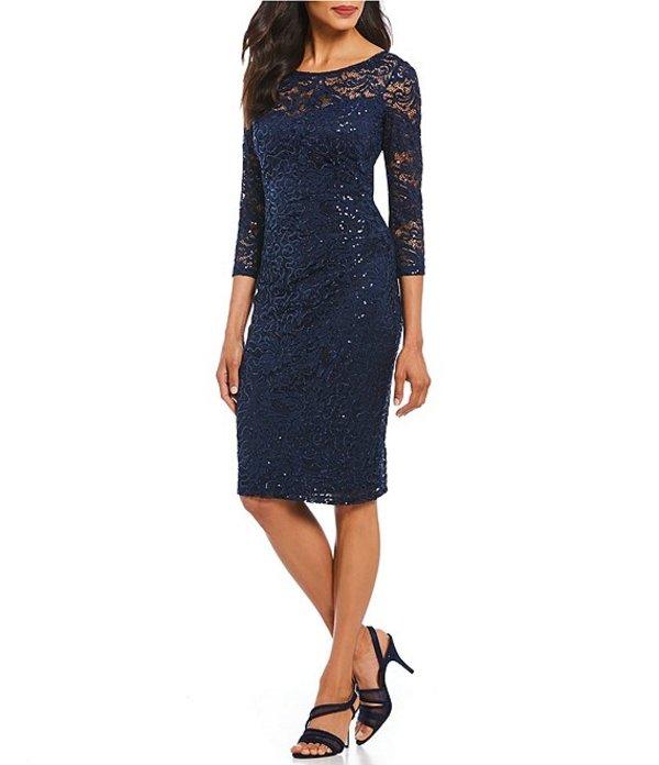 マリナ レディース ワンピース トップス Sequin Lace Sheath Dress Navy