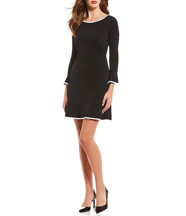 マイケルコース レディース ワンピース トップス Matte Jersey Flounce Contrast Hem A-Line Dress Black
