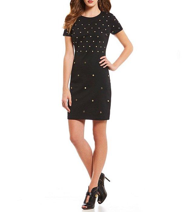 マイケルコース レディース ワンピース トップス Stud Embellished Ponte Knit Sheath Dress Black
