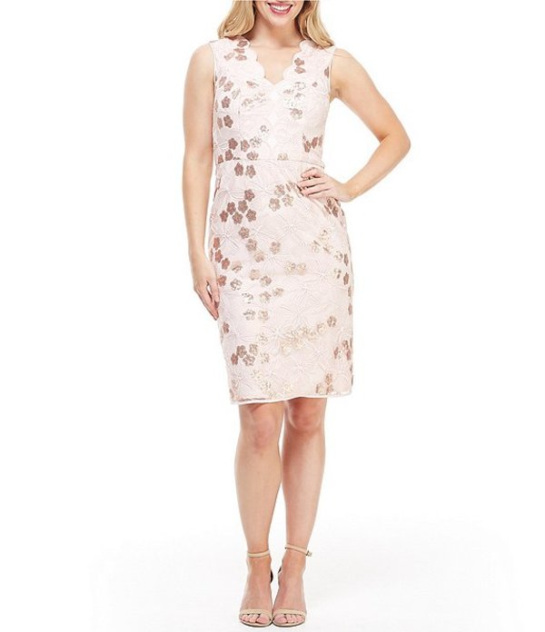 マギーロンドン レディース ワンピース トップス Sequin Embroidered Scalloped Sheath Dress Lush Mist