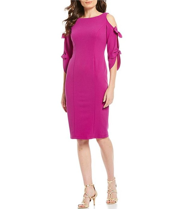 ドナモーガン レディース ワンピース トップス Tie Sleeve Cold Shoulder Stretch Crepe Midi Sheath Dress Orchid