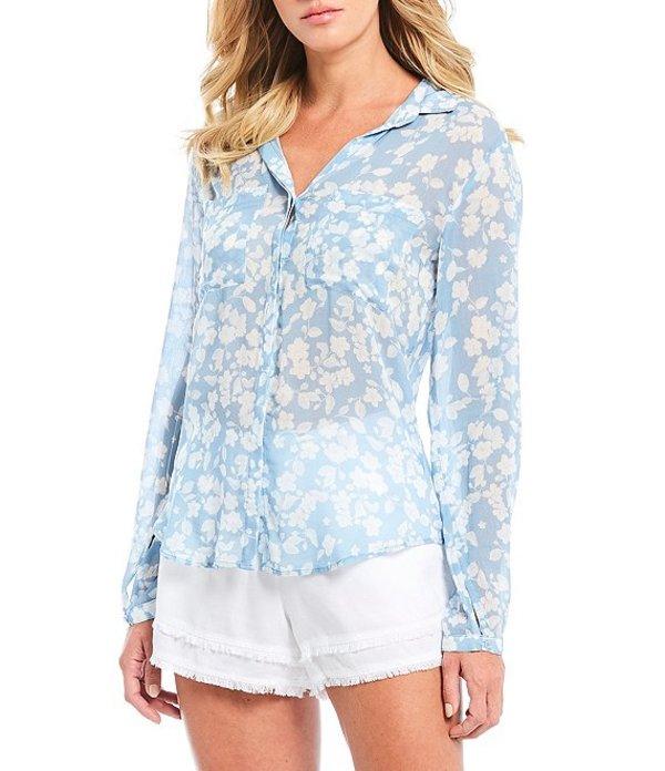 チェルシーアンドバイオレット レディース シャツ トップス Floral Print Long Sleeve Sheer Shirt Ocean View
