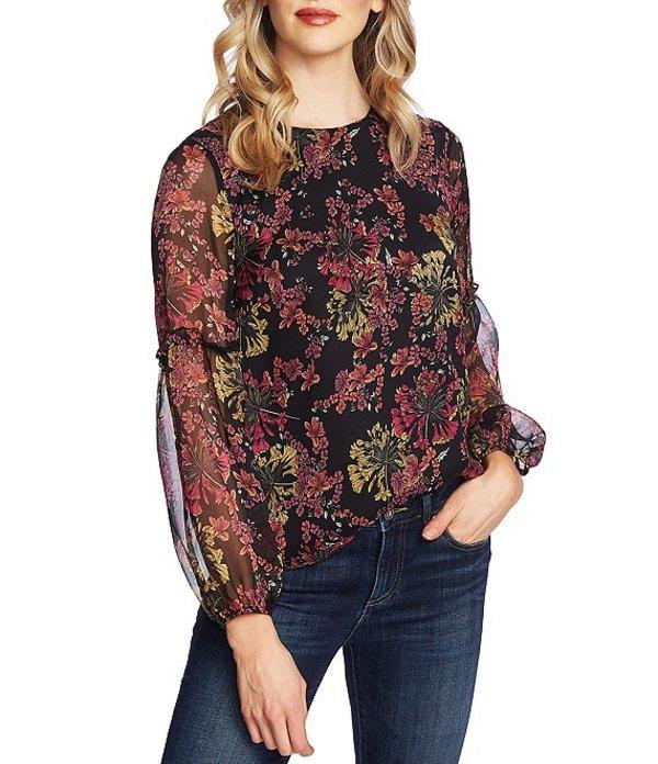 セセ レディース シャツ トップス Puffed Long Sleeve Floral Print Blouse Rich Black