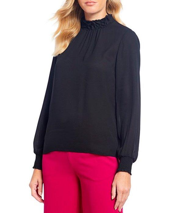 セセ レディース シャツ トップス Smocked Long Sleeve Cuff Ruffle Floral Collar Blouse Rich Black