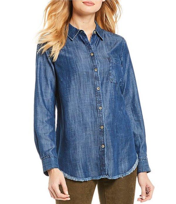 フォックスクラフト レディース シャツ トップス Haven Solid Tencel Fringe Hem Button Front Denim Shirt Navy