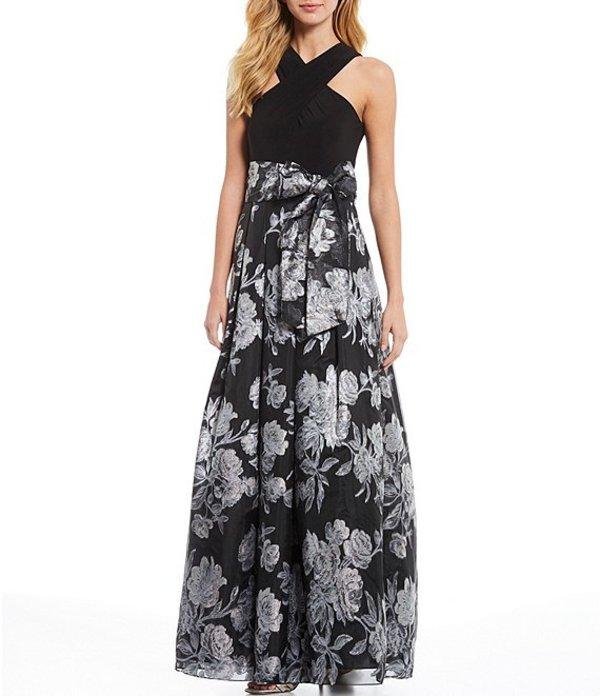 エリザジェイ レディース ワンピース トップス Criss-Cross Halter Neck Brocade Floral Print Ballgown Black/Silver