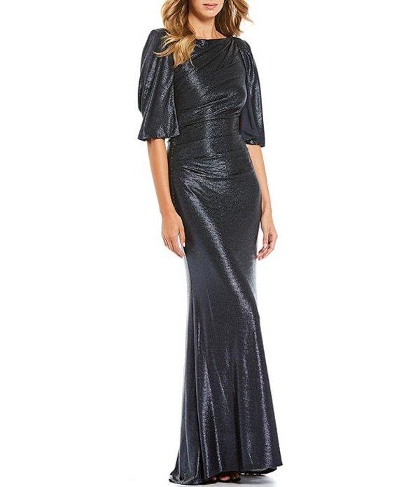 エリザジェイ レディース ワンピース トップス Metallic Foiled Knit Cape Sleeve Gown Navy