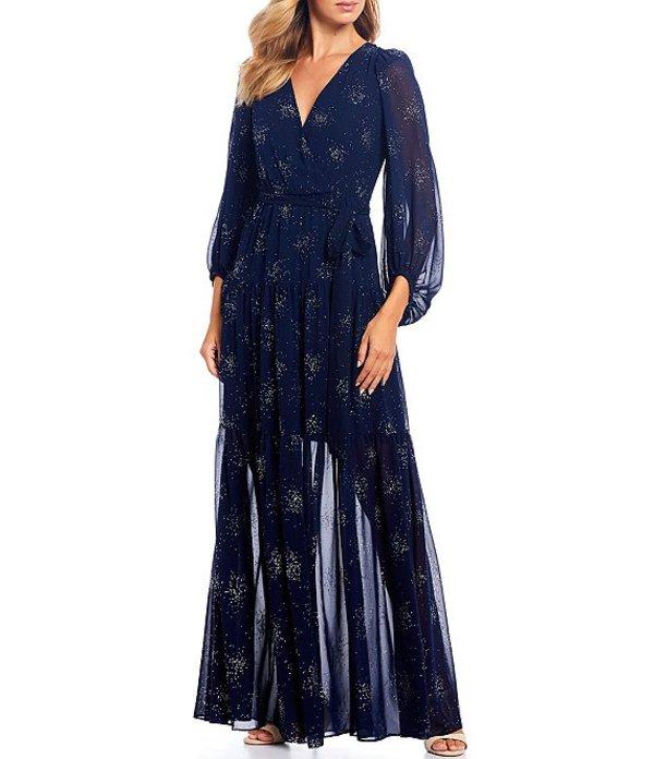 エリザジェイ レディース ワンピース トップス Star Open Back Bishop Sleeve Chiffon Maxi Dress Navy