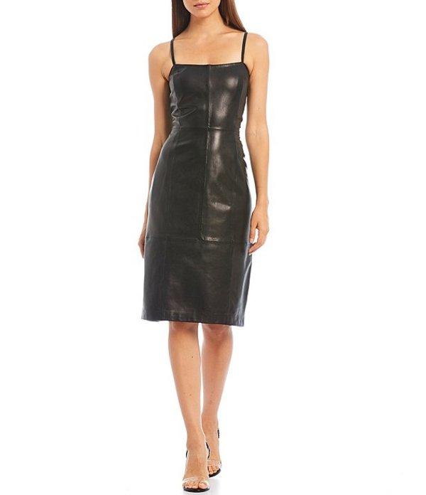 ジャンビニ レディース ワンピース トップス Bianca Sleeveless Square Neck Leather Slip Dress Black