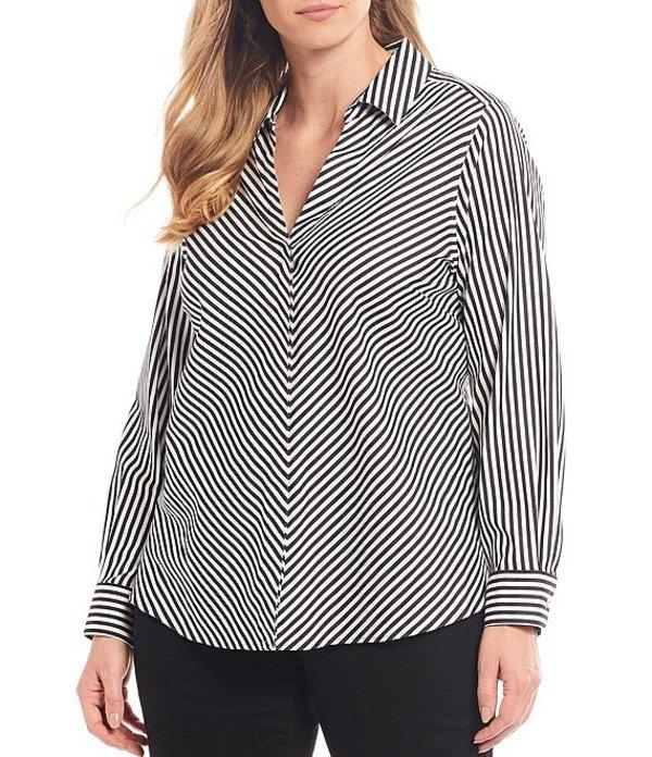 フォックスクラフト レディース シャツ トップス Plus Size Mona Stripe Stretch Sateen Button Front Shirt Black