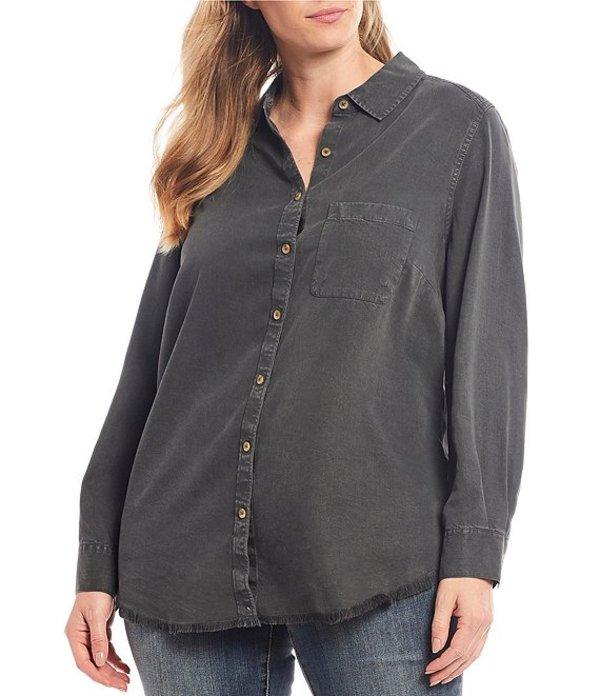 フォックスクラフト レディース シャツ トップス Plus Size Haven Dyed Tencel Button Down Shirt Fray Hem Shirt Charcoal