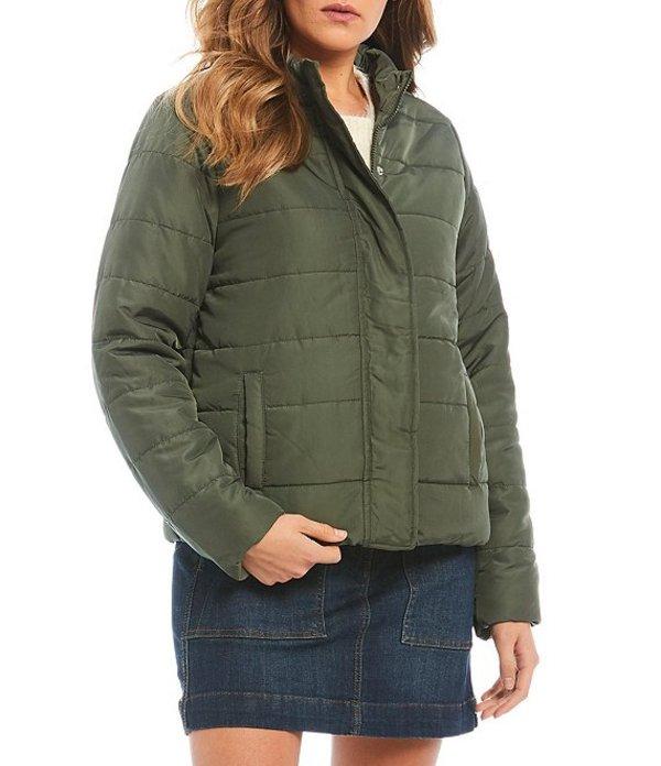 カッパーキー レディース コート アウター Classic Hidden Snap Front Puffer Jacket Olive