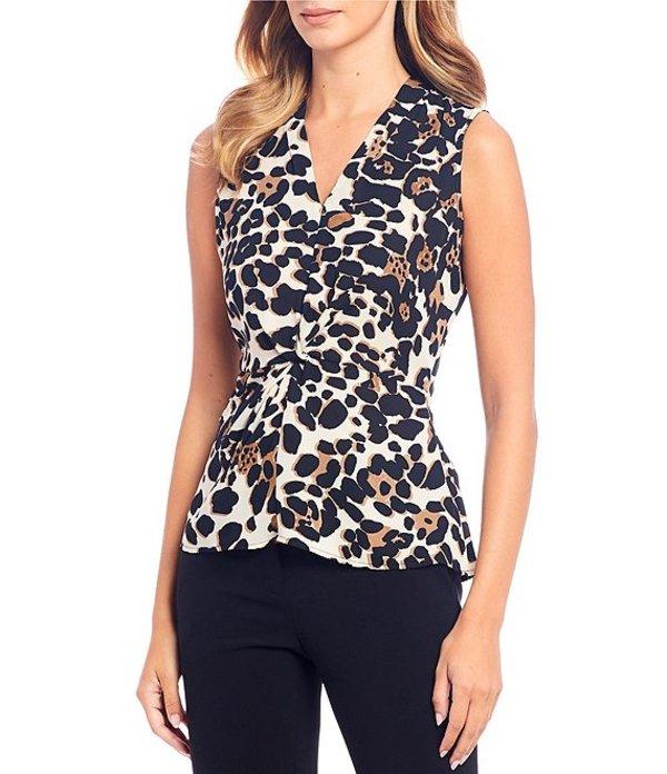ダナキャラン レディース シャツ トップス New York Leopard Print Georgette Knot Front Detail Sleeveless Top Black/Multi