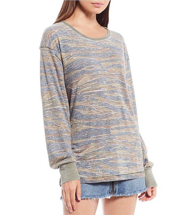 フリーピープル レディース Tシャツ トップス Arielle Printed Long Sleeve Cotton Blend Camouflage Top Army