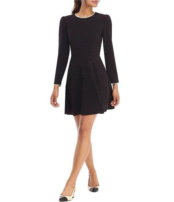 ギャルミーツグラム レディース ワンピース トップス Celeste Pearl Trim Fit and Flare Box Weave Crepe Dress Black