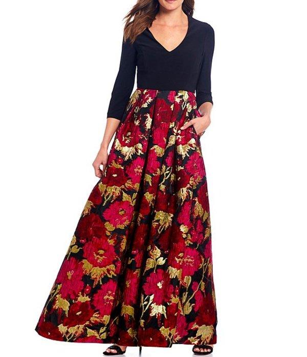 エリザジェイ レディース ワンピース トップス Jacquard Floral Print Ballgown With Pockets Black/Rose
