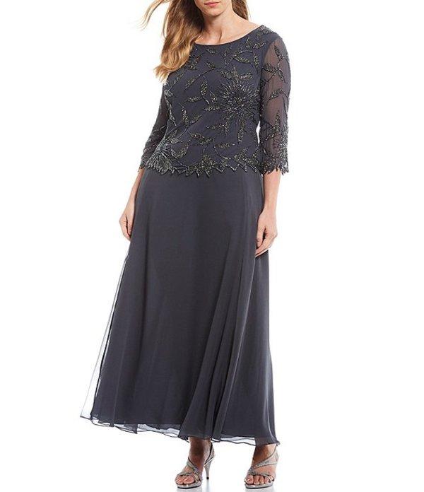 ジェーカラ レディース ワンピース トップス Plus Asymmetrical Beaded Scalloped Gown Grey/Multi