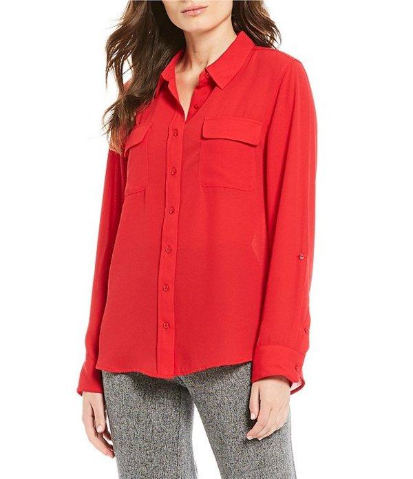 インベストメンツ レディース シャツ トップス Petite Olivia Long Sleeve Button Front Utility Blouse Red