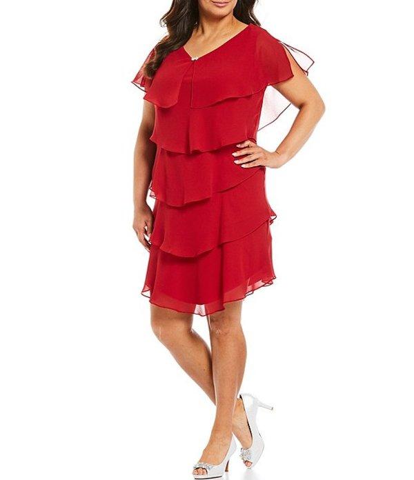 イグナイト レディース ワンピース トップス Plus Georgette Tiered Short Sleeve Capelet Dress Red