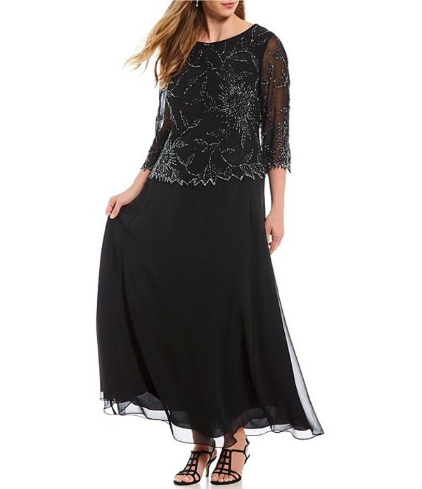 ジェーカラ レディース ワンピース トップス Plus Size 3/4 Sleeve Asymmetrical Beaded Bodice Gown Black/Mercury/Silver