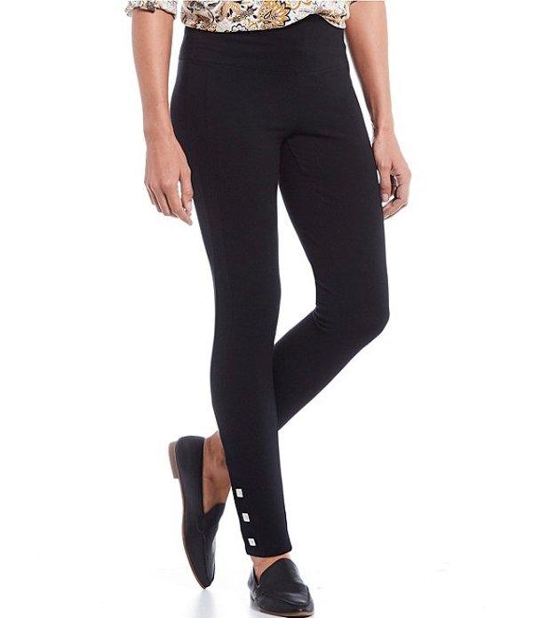 イントロ レディース カジュアルパンツ ボトムス Love the Fit Tummy Control Square Snap Hem Detail Leggings Ebony Black