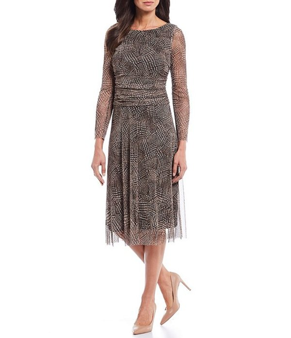 ジェシカハワード レディース ワンピース トップス Printed Mesh Long Sleeve A-Line Midi Dress Black/Brown