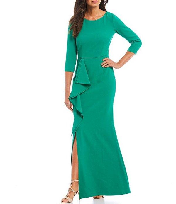 ジェシカハワード レディース ワンピース トップス Crepe 3/4 Sleeve Cascade Ruffle Front Slit Gown Green