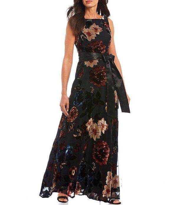 イグナイト レディース ワンピース トップス Burnout Velvet Sleeveless Floral Print Tie Waist A-Line Gown Black/Multi