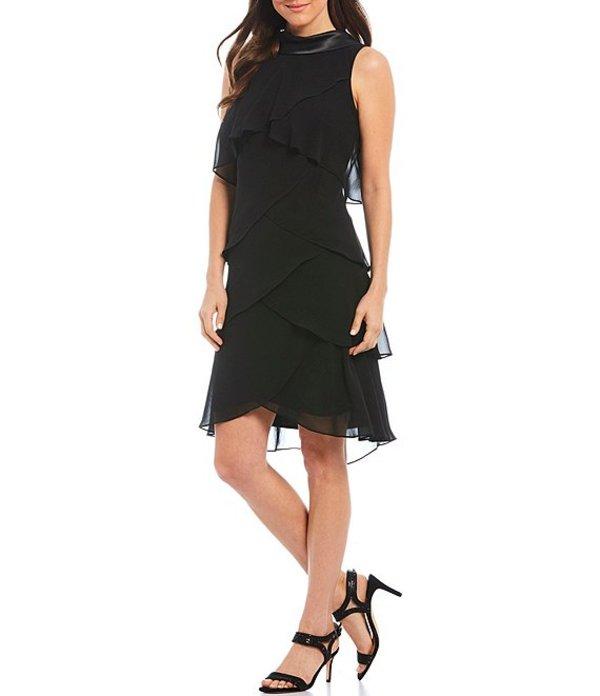 イグナイト レディース ワンピース トップス Satin Roll Collar V-Back Chiffon Tiered Shift Dress Black