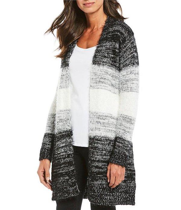 アイエヌ スタジオ レディース パーカー・スウェット アウター Ombre Stripe Open Front Sweater Knit Duster Cardigan Black/White Ombre Stripe