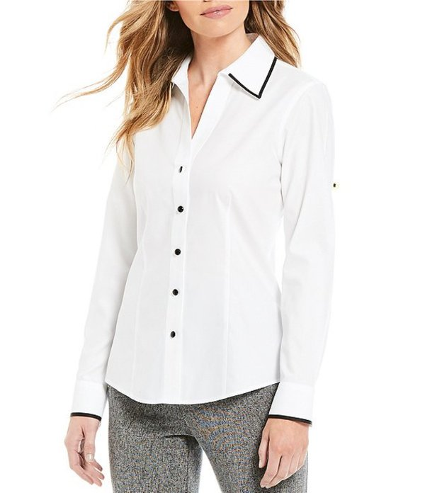 インベストメンツ レディース シャツ トップス Petite Size Christine Gold Label Non-Iron Long Sleeve Button Front Contrast Trim Shirt White/Black Tip