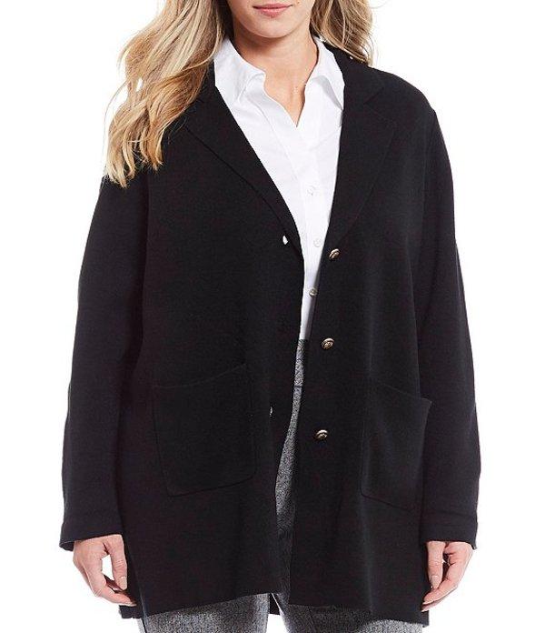インベストメンツ レディース ジャケット・ブルゾン アウター Plus Size Long Sleeve Notch Collar Single Breasted Jacket Black