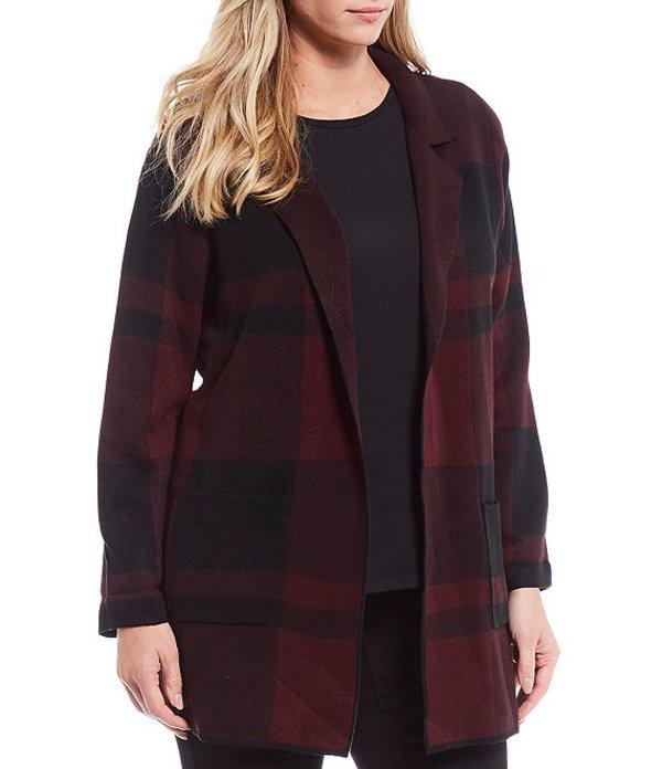 インベストメンツ レディース カーディガン アウター Plus Size Long Sleeve Notch Collar Red Plaid Cardigan Port/Black Plaid