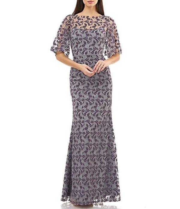 ジェイエスコレクションズ レディース ワンピース トップス Floral Embroidered Flutter Sleeve Gown Purple