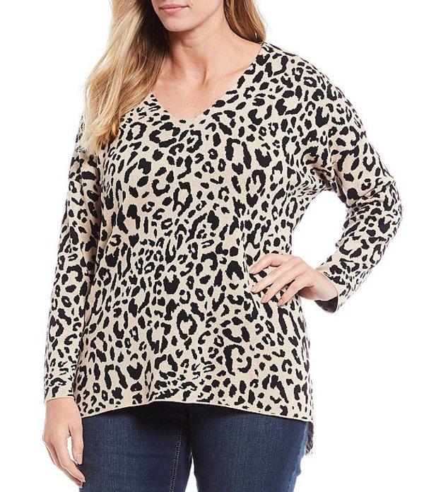 ジョーンズニューヨーク レディース Tシャツ トップス Plus Size Leopard Print V-Neck Hi-Low Top AO Leopard Camel Black
