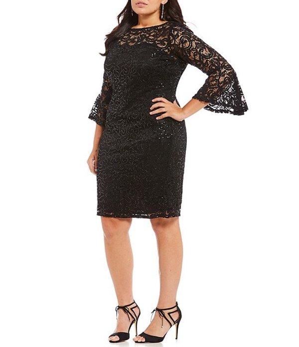 マリナ レディース ワンピース トップス Plus Sequin Lace Bell-Sleeve Dress Black