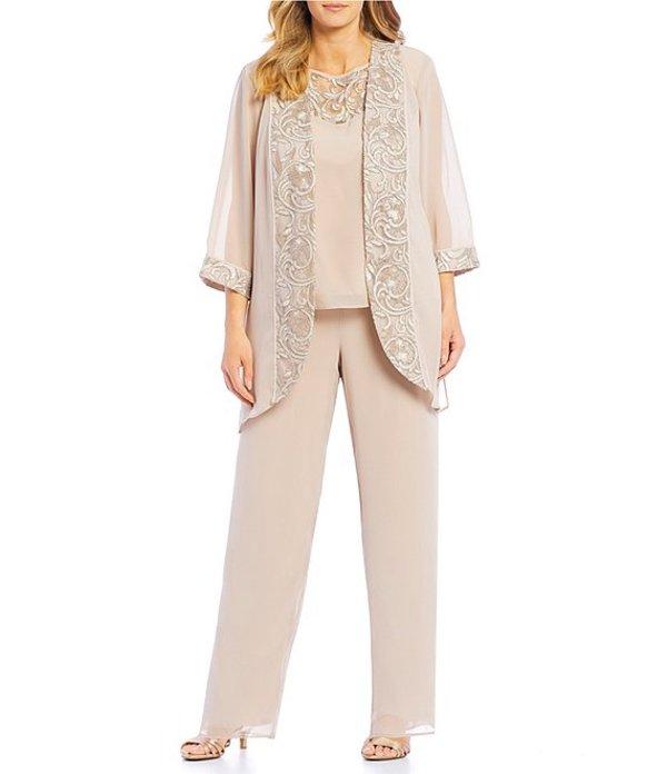 ルボ レディース カジュアルパンツ ボトムス Plus Size 3-Piece Embroidered Trim Duster Pant Set Almond
