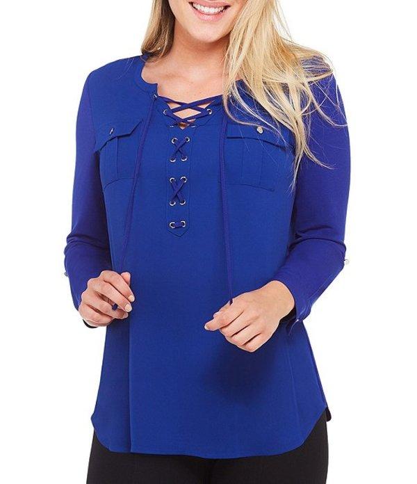 ピーター ナイガード レディース シャツ トップス Mixed Media Lace-Up Front Knit Shirt Nygard Blue