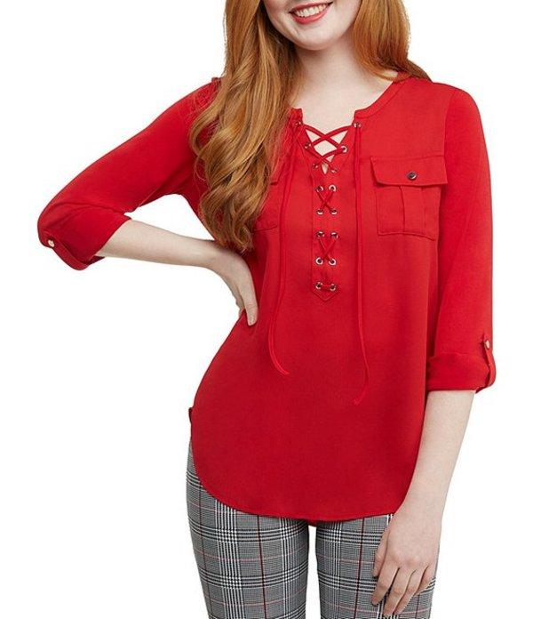ピーター ナイガード レディース シャツ トップス Mixed Media Lace-Up Front Knit Shirt Red