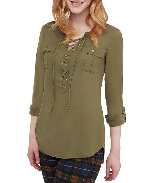 ピーター ナイガード レディース シャツ トップス Lace Up With Grommet Details Roll-Tab Sleeve Jersey Shirt Medium Olive