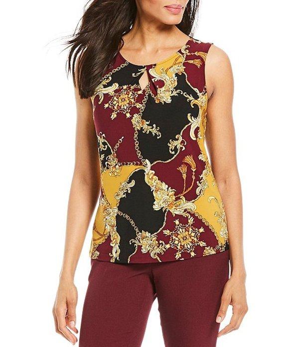 カスパール レディース Tシャツ トップス Ornate Status Print Knit Jersey Keyhole Neck Sleeveless Top Claret/Multi