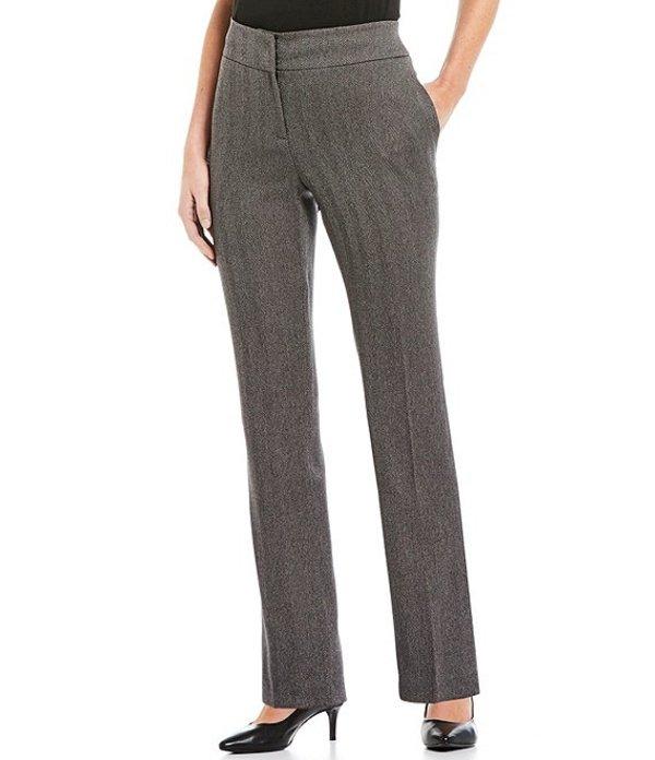 カスパール レディース デニムパンツ ボトムス Petite Size Herringbone Slim Straight Leg Pants Zinc/Black