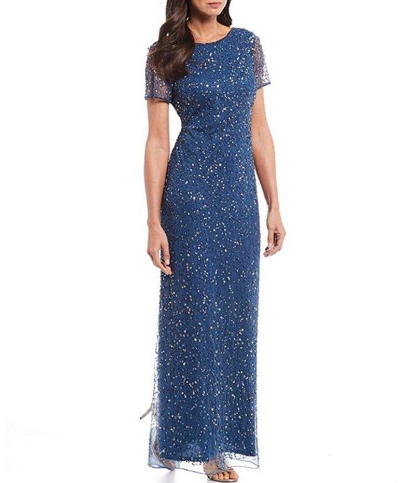 ピサッロナイツ レディース ワンピース トップス Petite Size Scoop Back Beaded Short Sleeve Long Gown Petrol Blue