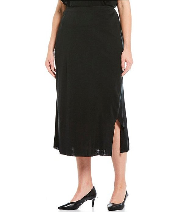 ミンウォン レディース スカート ボトムス Plus Size Pull-On Midi Skirt Black
