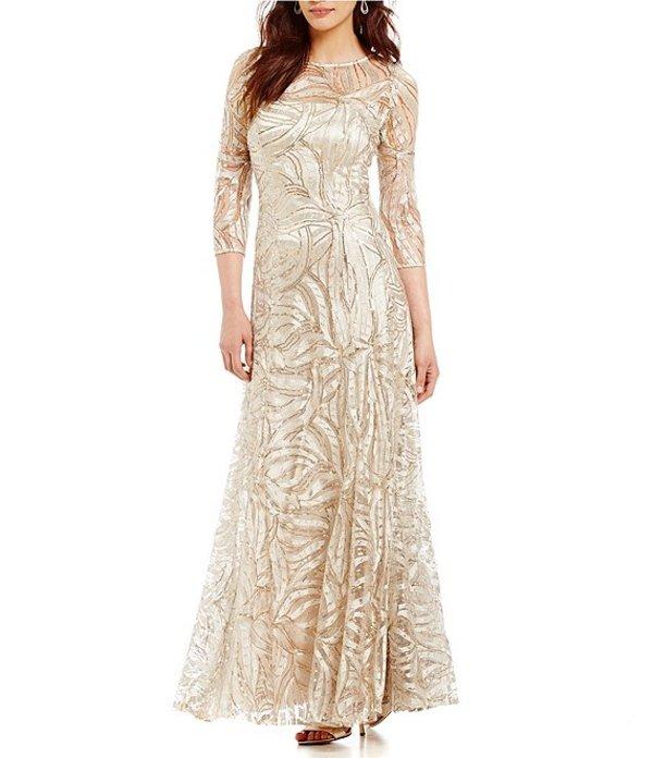 タハリエーエスエル レディース ワンピース トップス Embroidered A Line Gown Champagne