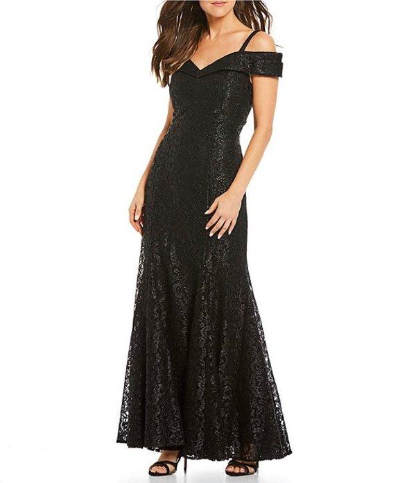 アールアンドエムリチャーズ レディース ワンピース トップス Off-the-Shoulder Sweetheart Neck Lace Gown Black