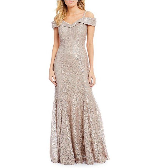 アールアンドエムリチャーズ レディース ワンピース トップス Off-the-Shoulder Sweetheart Neck Lace Gown Champagne