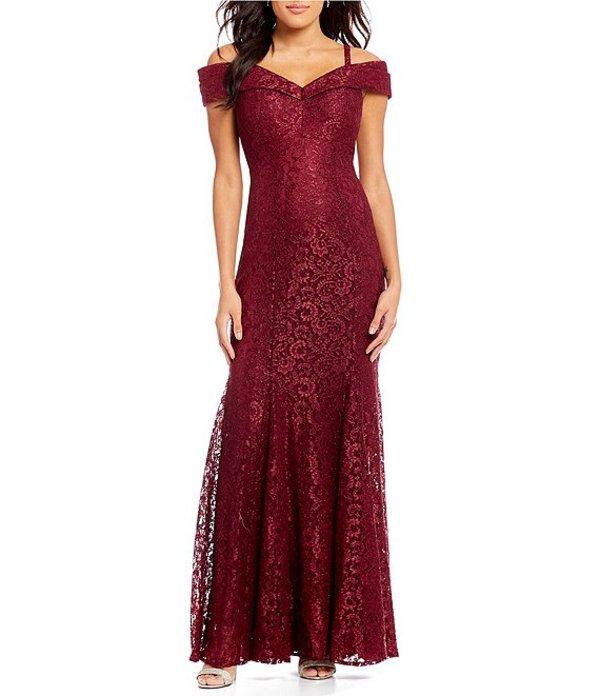 アールアンドエムリチャーズ レディース ワンピース トップス Off-the-Shoulder Sweetheart Neck Lace Gown Merlot