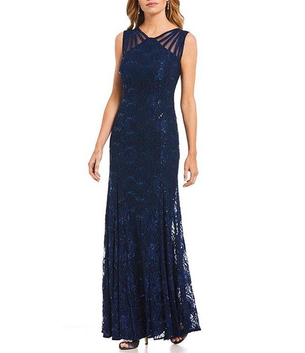 アールアンドエムリチャーズ レディース ワンピース トップス Illusion Shoulder Lace Gown Navy