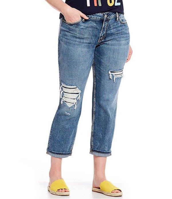 シルバー ジーンズ レディース デニムパンツ ボトムス Plus Size Distressed Boyfriend Jeans Indigo